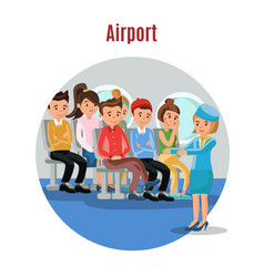 colorful people on airplane template vector image vector image