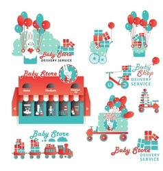 Cute designs set for baby store delivery service vector