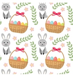Easter seamless pattern with eggs basket and vector