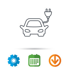 Electric car icon hybrid auto transport sign vector