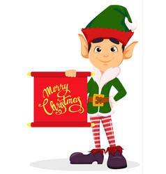 elf holding scroll with greetings vector image vector image