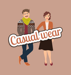 fashion couple in casual wear style vector image vector image