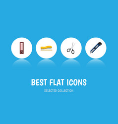 Flat icon tool set of supplies dossier clippers vector