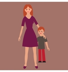Flat portrait of happy family with mother and vector image vector image