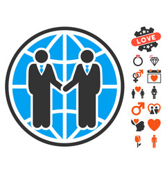 global partnership icon with dating bonus vector image