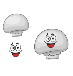 Happy edible white champignon mushroom vector