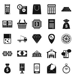 Hard cash icons set simple style vector