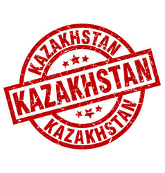 Kazakhstan red round grunge stamp vector