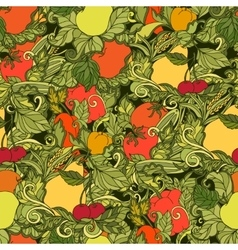 Leaves vegetables and fruits seamless pattern vector image vector image