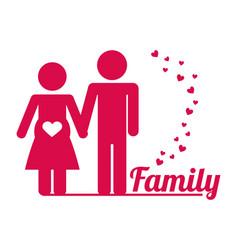 Lovely family couple pregnant poster vector
