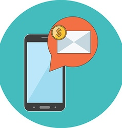 M-commerce concept flat design icon in turquoise vector