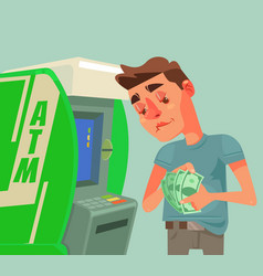 Man character receive and count money near atm vector