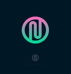 n flat logo monogram pipe circle vector image vector image