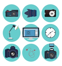 Photographer tools creative kit designer set icons vector
