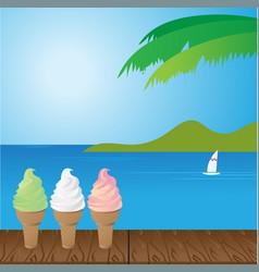 Sea and ice cream vector