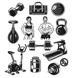 Set icons for bodybuilding isolated on white vector image vector image