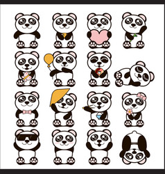 set of cute pandas happy vector image vector image