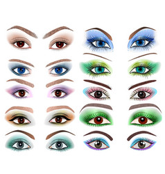 Set of womens eyes with a different makeup vector