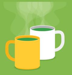 Tea cups with smoke flat vector