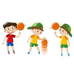 three boys playing basketball vector image