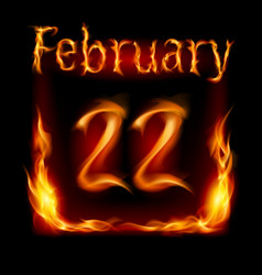 twenty-second february in calendar of fire icon vector image vector image