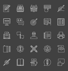 Copywriting outline icons vector