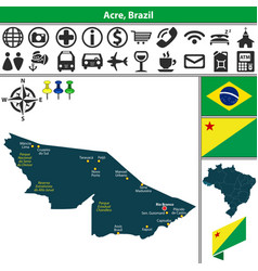map of acre brazil vector image