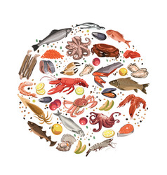 Colorful sketch seafood products round concept vector