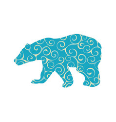 Bear wild color silhouette animal vector