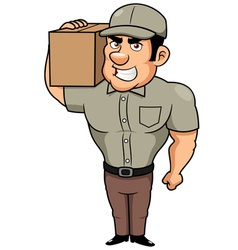 Cartoon delivery man vector image