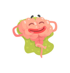 happy humanized cartoon brain character lying and vector image
