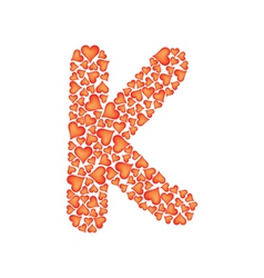 Letter k made of valentines vector