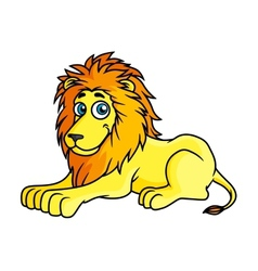 Cartoon yellow lion lies on front paws vector