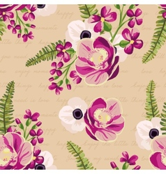 Seamless vintage pattern with painted flowers vector