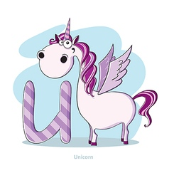 Cartoons alphabet - letter u with funny unicorn vector