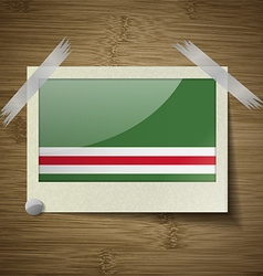 Flags chechen republic of ichke at frame on wooden vector