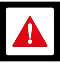 Warning flat red and white colors rounded button vector