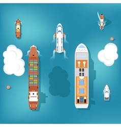 Set of ships top view vector