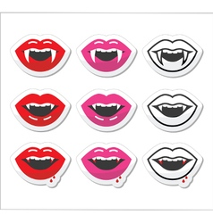 Vampire mouth vampire teeth labels set vector
