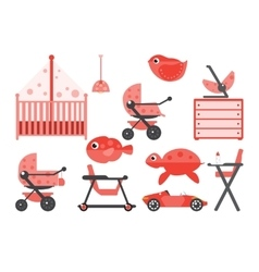 Baby room furniture and toys vector