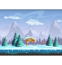 Seamless cartoon background with winter landscape vector image