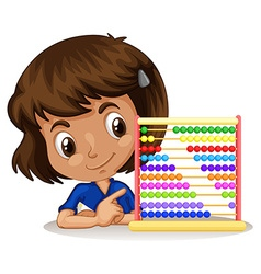 Little girl using abacus to count vector
