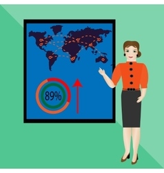 Businesswoman in suit making presentation vector