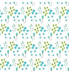 Spring wild flower blue millefleurs field seamless vector