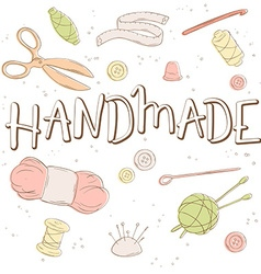 Hand lettering label - handmade - with tailoring vector