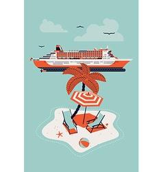 Cruise Ship and an Island vector image