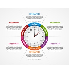 Abstract infographic with clock in the centre vector
