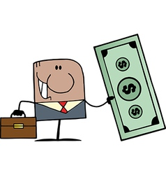African American Doodle Businessman Holding Dollar vector image