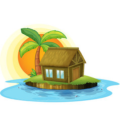 An island with a bamboo house vector