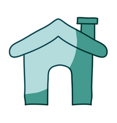 Aquamarine hand drawn silhouette of house icon vector